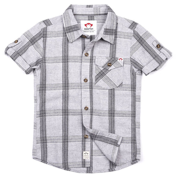 Gray Linen Plaid Collared Shirt (1812923777085)