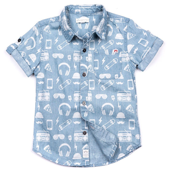 Hipster Pattern Collared Shirt