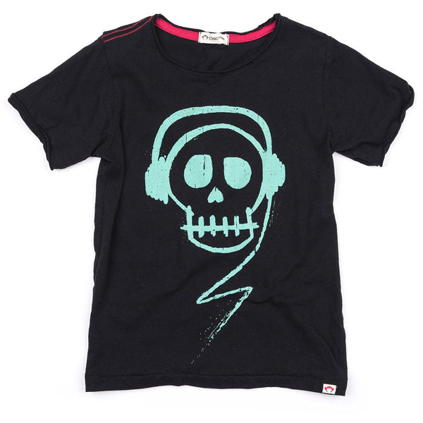 Appaman Boys spring skull headphones tee black