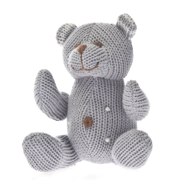 Knit Bear Rattle Polka Dot Grey - SOOJIN baby shop