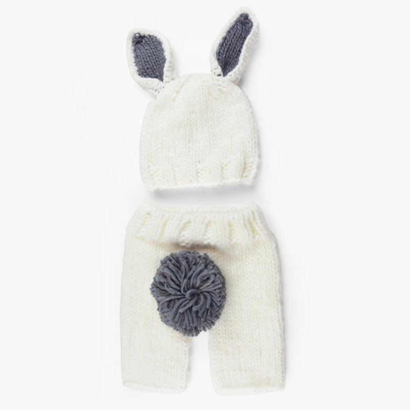 Bailey Bunny Knit Newborn Set - White and Grey (4410293059645)