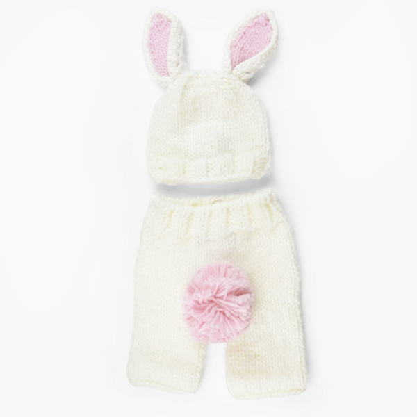Bailey Bunny Knit Newborn Set - White and Pink (4410292338749)