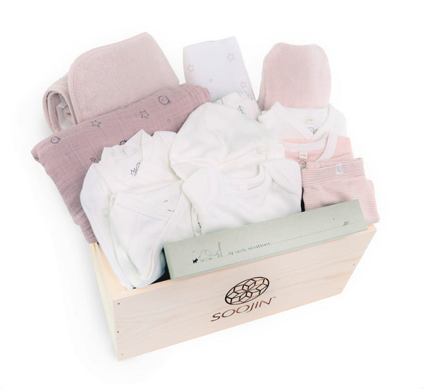 Newborn Starter Set in Blush with Trees Blanket