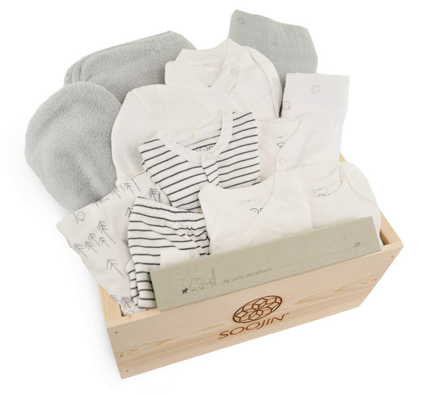 Newborn Starter Set in Gray Stripes with Trees Blanket