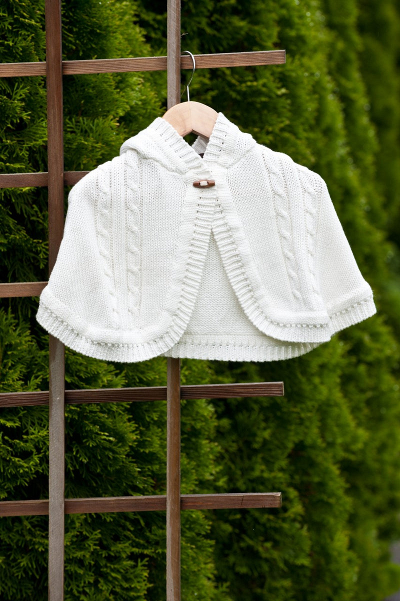 White Knit Cape for baby girl