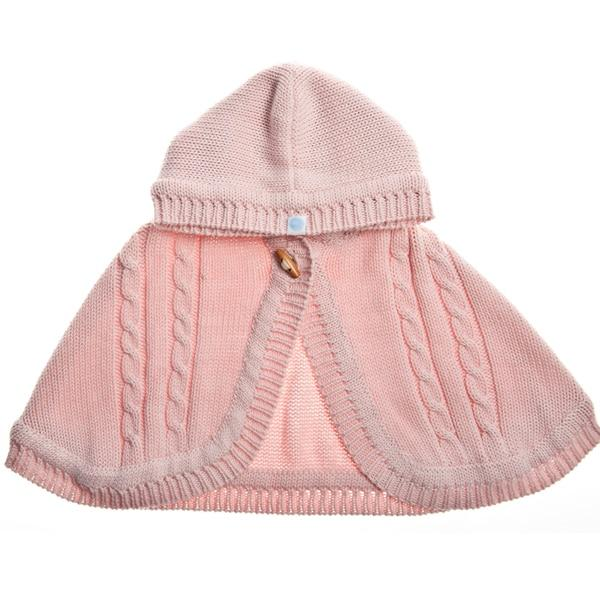 Pink Knit Cape for baby girl (4360271364157)