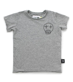 Heather Gray Embroidered Sketch Skull T-Shirt (4366153056317)