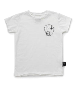 White Embroidered Sketch Skull T-Shirt (4366153252925)