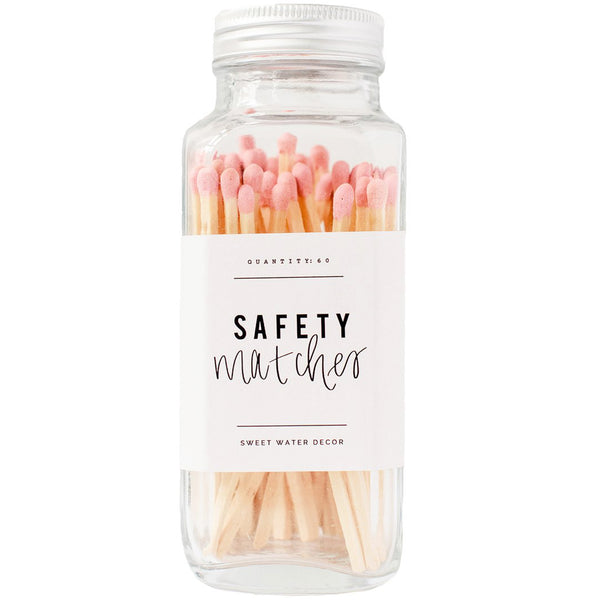 Safety Matches in Glass Jar - Pink (4408812929085)