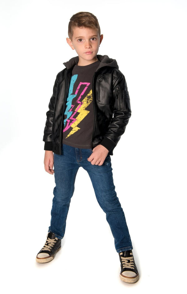 Lightning Bolt Graphic Tee Vintage Black for Boys