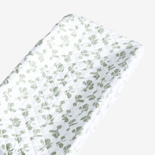 100% Organic Cotton Radish Changing Pad Cover | Agave