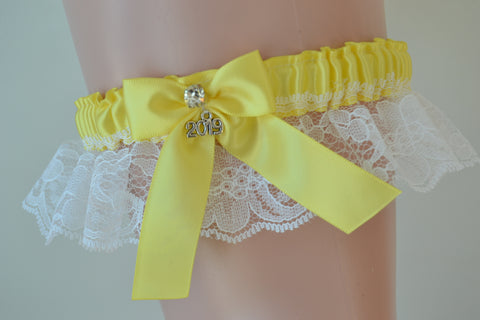 Yellow & White Lace Prom Garter-PR11