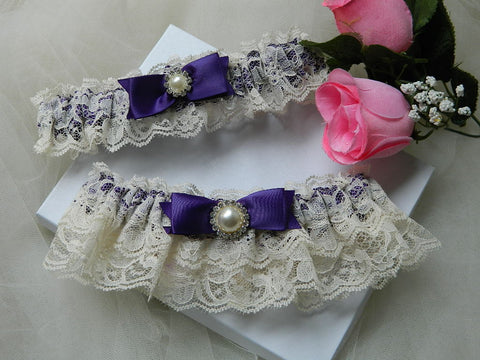 Purple & Ivory Lace Garter Set-BG410