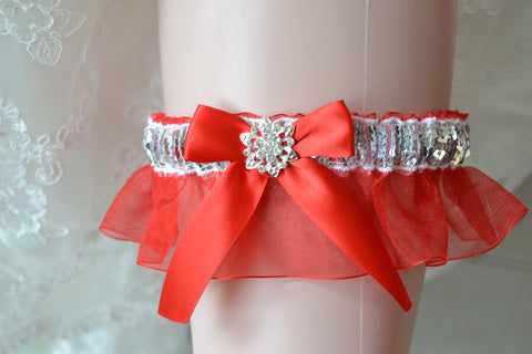 2017 Prom Garters, Custom Colors Prom Garter, Prom Garters.Prom Garter Silver Sequences Over Red Organza
