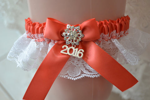 Watermelon & White Lace  Prom Garter-PR25
