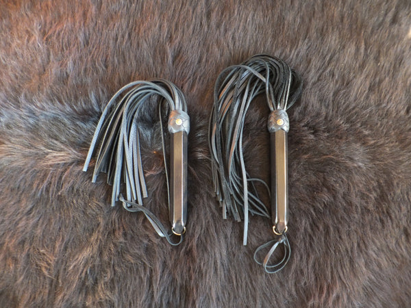 Leather floggers by Viktoria Creations for light play or beginners