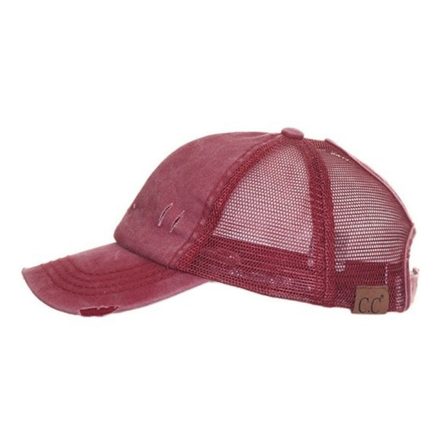 Distressed Solid Color C.C® Messy Bun Trucker Hat | 9 COLORS