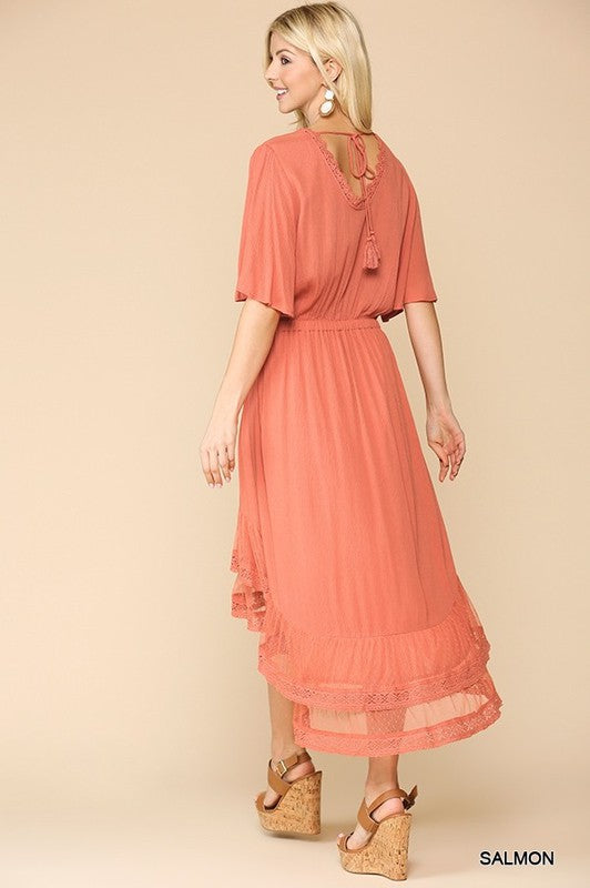 Salmon Lace High-Low Dress | S-L