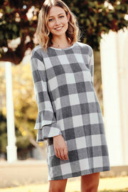 Gray Buffalo Plaid Babydoll Dress | S-XL