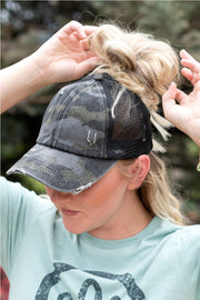 Distressed Camo C.C® Criss-Cross Messy Bun Trucker Hat | 2 COLORS