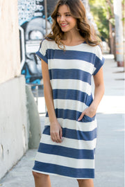 Navy Striped Tee Shirt Midi Dress | S-3XL