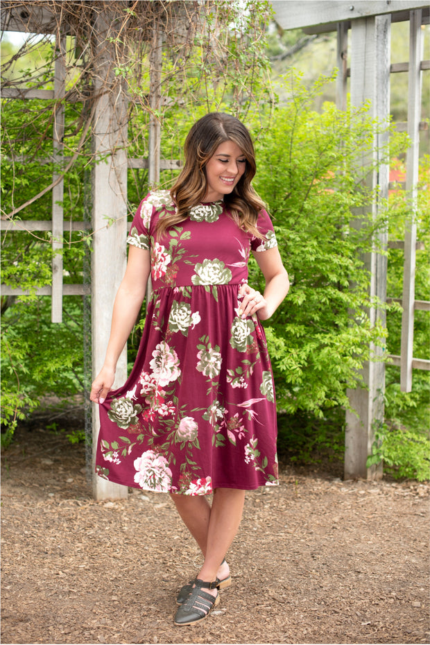 Burgundy Liv Dress | S-3XL