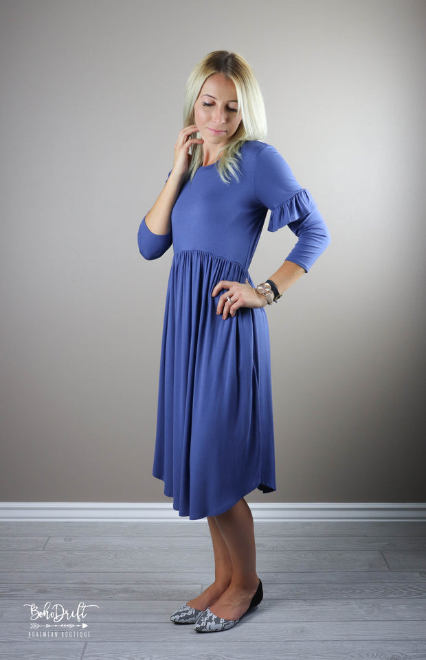 Navy Faye Ruffle Sleeve Dress CLEARANCE | M-L