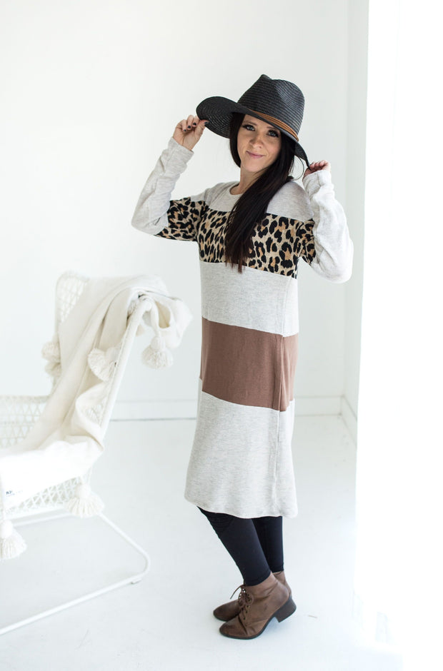Mauve + Gray + Leopard Dress | S-L