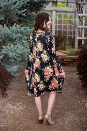 Kaylee Black Floral Swing Dress CLEARANCE | S-XL