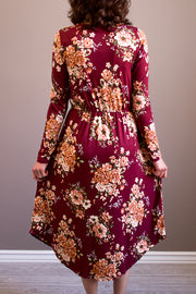 Morgan Burgundy Floral Midi Dress | S-XL