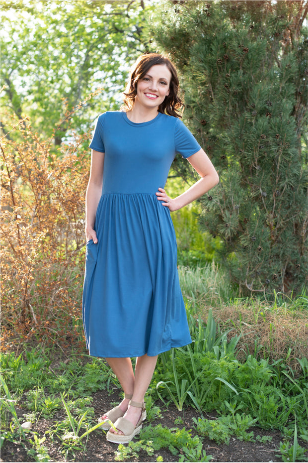 CLEARANCE Riverside Blue Midi Dress | S-3XL