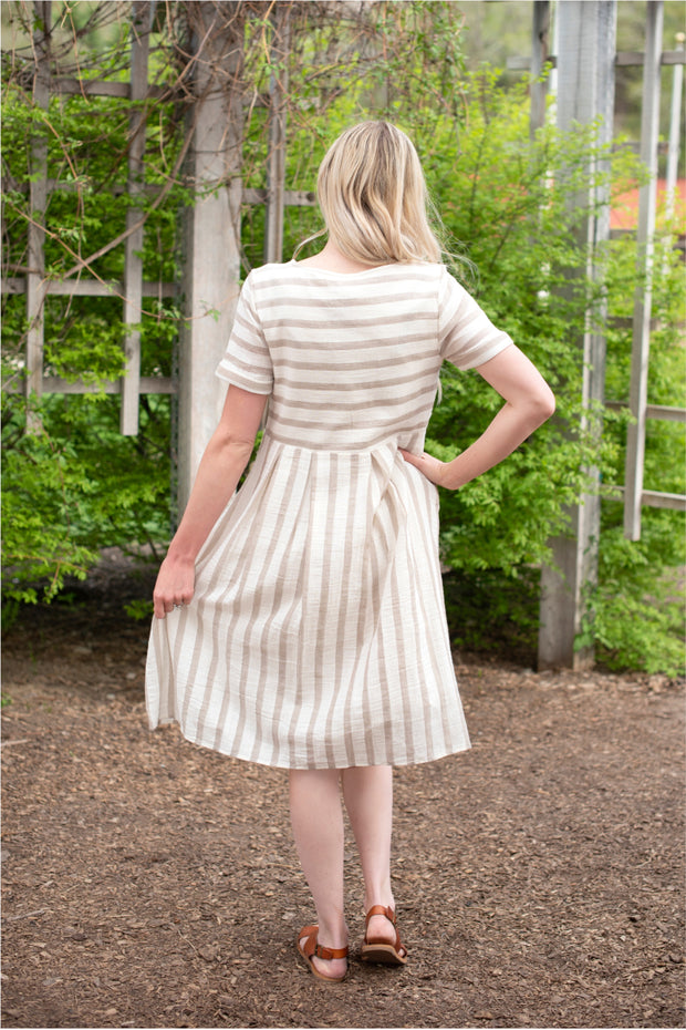 CLEARANCE Taupe Striped Linen Dress | S-L