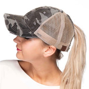 Distressed Camo C.C® Messy Bun Trucker Hat | 3 COLORS