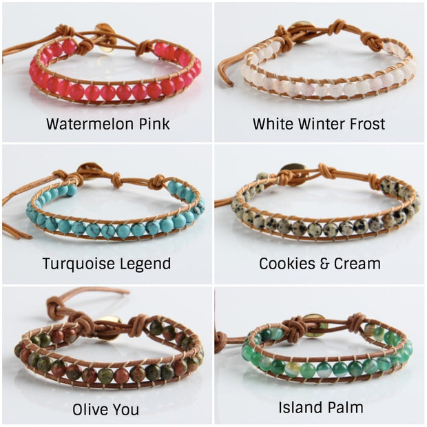 Boho Leather Beaded Bracelet | 24 colors
