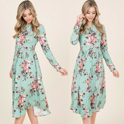 CLEARANCE Rachael Mint Floral Midi Dress | L