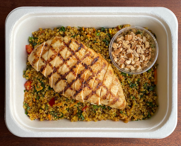Curried Quinoa and Grilled Chicken Salad
