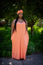 Peach Sahara Maxi dress w/ head wrap