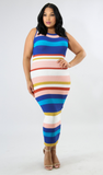 Stripe tank style sleeveless midi dress