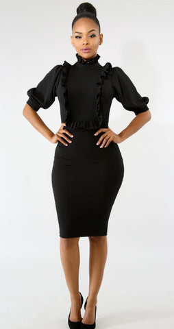Black Princess Body-Con Dress