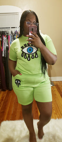 Neon Green Tear Drop Set (plus size)