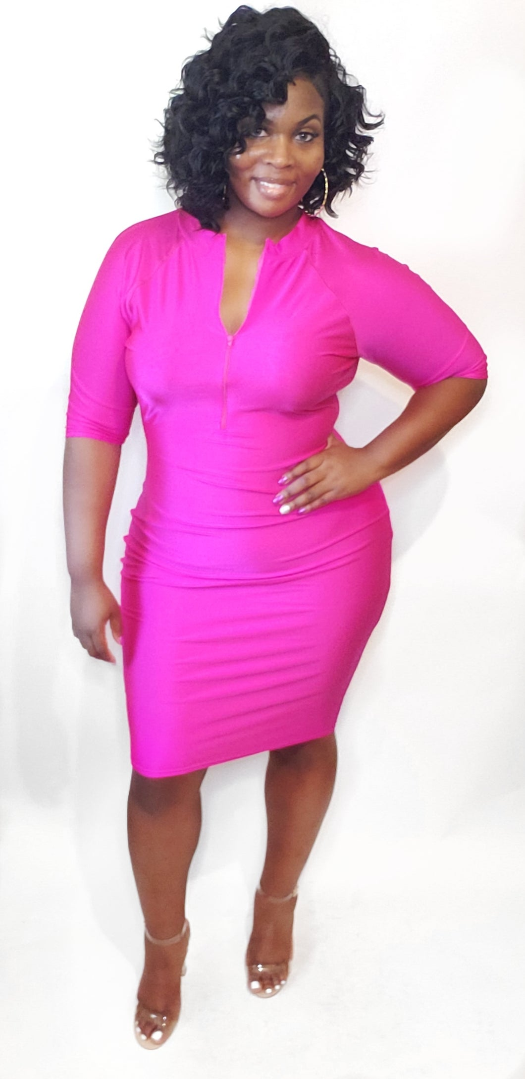 Neon Pink Punch bodycon dress