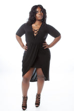 BLACK CROSS STRAP WRAP DRESS