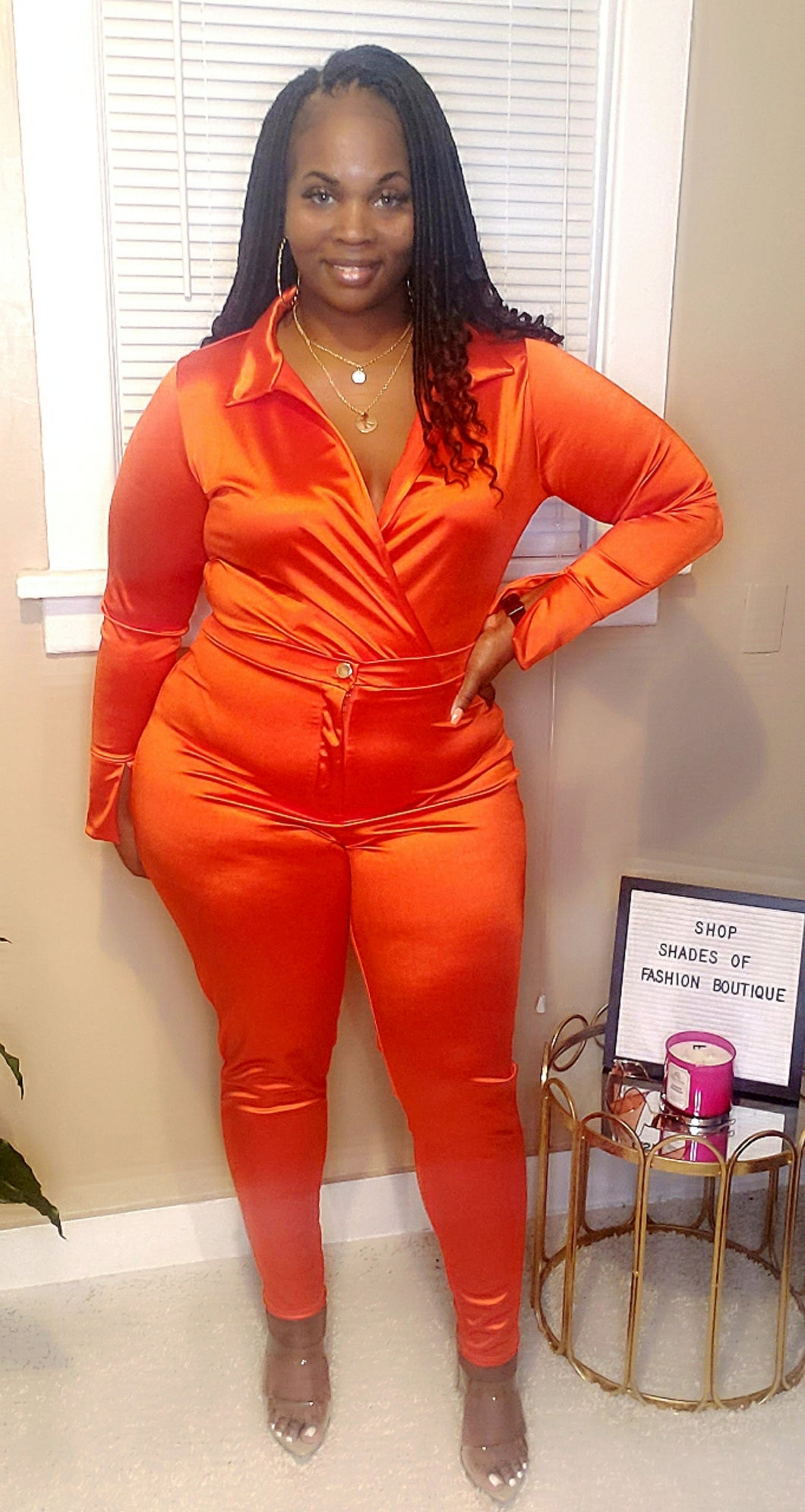 Orange satin set