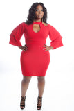 RED TIERED BELL SLEEVE BODY CON DRESS