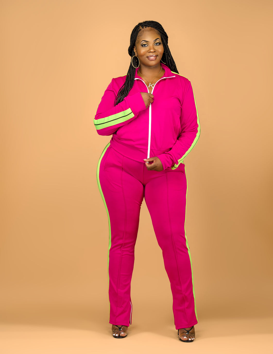 Pink track suit