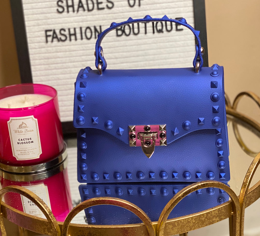Blue studded clutch