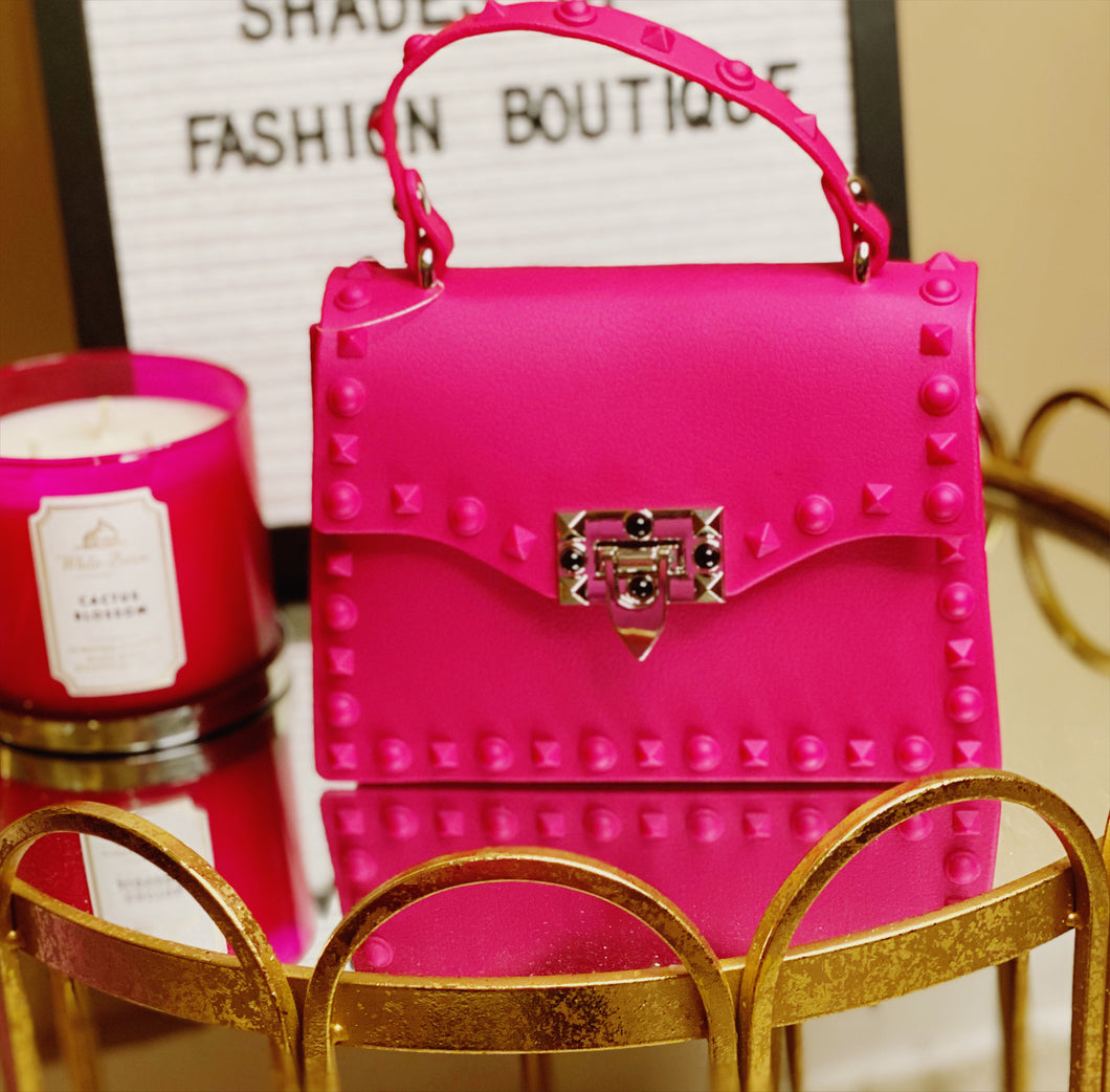 Hot Pink Studded Clutch