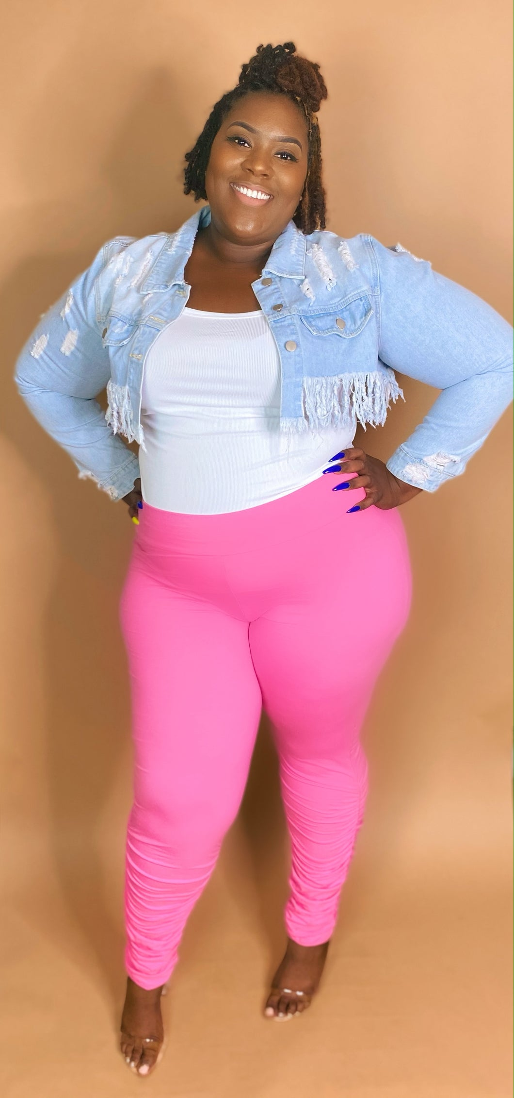 Pink scrunched leggings