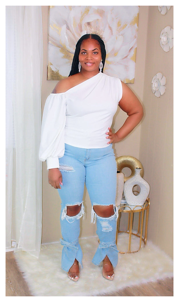 Tie Bottom Flare Jeans