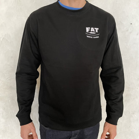 Black Crew Neck FAT Embroidered Logo Sweatshirt